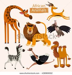 Vector set of cartoon African animals on a white background. Childish illustration of giraffe, antelope, lion, zebra, ostrich, camel and vulture