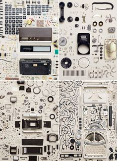 Canadian photographer Todd McLellan. For his Disassembly series, he rounded up old relics from our past – everything from cassette tapes to typewriters – and meticulously took apart every piece by hand before arranging the chaotic mess into neat collections