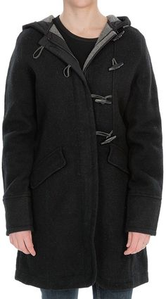 $149, Black Duffle Coat: Bristol Duffle Coat Wool by Woolrich. Sold by Sierra Trading Post. Click for more info: http://lookastic.com/women/shop_items/56213/redirect