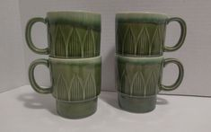 Retro Avacado Green Drip Glaze Coffee Mug Stackable Set of 4 Mid Century Mod Mid Century Modern Decor, Something Old, Early American, 3d Design, Colonial, Dinnerware, Glaze, Mid-century Modern, Avocado