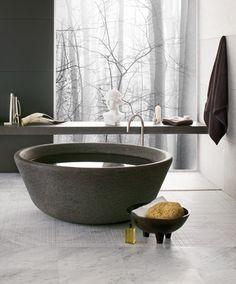 Wonderful Stone Bathroom Ideas : Wonderful Stone Bathroom With White Black Wall Stone Bathtub Cabinet Towel Hanger And Ceramic Floor