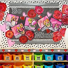 This is one of my favorite views in Katie's classroom. We cleared out the mismatched furniture and created a quaint and functional window… Schoolgirl Style, Arts Ed, Elementary Art, Art Studios, Classroom Decor, Bulletin Boards, Arts And Crafts, Valentines, Photo And Video