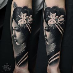 beautiful geisha tattoo done by AD Pancho