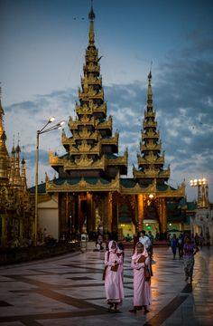 Shwedagon Pagoda at Sunrise - Yangon, Myanmar - Photo by Dragan Tapshanov