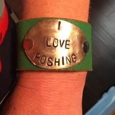 I LOVE POSHING VINTAGE LEATHER CUUF/BRACELET Handmade leather cuff or bracelet made from a vintage belt.  silver spoon with engraving I love polishing Jewelry Bracelets