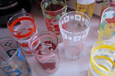 Cute collection of vintage drinking glasses