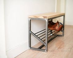 Store more than 10 pair of (adult) shoes in this steel shoe storage bench. Store more than 10 pair of (adult) shoes in this steel . Welded Furniture, Steel Furniture, Home Decor Furniture, Furniture Projects, Furniture Websites, Furniture Storage, Upcycled Furniture, Luxury Furniture, Shoe Storage Bench Diy
