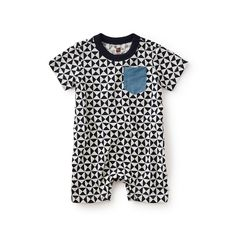 """Che figata is Italian for """"What a cool thing!"""" With a pattern inspired by Italian tile work, this romper is very cool, indeed."""