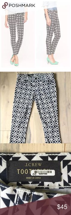 "J.Crew navy ikat print TOOTHPICK ankle jean Fun geo-print skinny ankle jeans from J.Crew. White with a dark navy print. Mid-rise, slim leg, ankle length. Size 27, approximate 4. Waist: 30.5"" Rise: 7.5"" Inseam: 27.5"" *measurements taken with garment lying flat; without stretching. J. Crew Jeans Skinny"