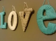 Yarn-wrapped Letters: Buy some inexpensive wooden letters or make your own out…