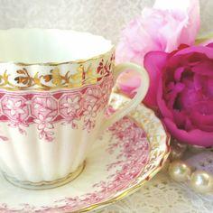 Stunning Pink Bone China Tea Cup and Saucer by HoneyandBumble