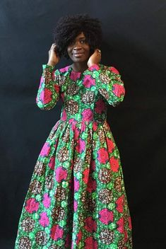 K U K O Custom Order Long Full Dress,Ankara Dress Elegant Dress,African Print Long Dress,Ankara Dres Ethnic Dress, Ankara Dress, Mixing Prints, Fashion Outfits, Womens Fashion, Girly Girl, Elegant Dresses, African Fashion, High Neck Dress
