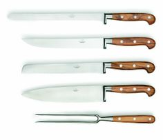 Consigli 5-Piece Olive Wood Handle Kitchen Knife with Leather Case by Consigli. $607.00. Forged stainless steel. Kitchen set 5-piece belonging to the range of chef and kitchen forged knives with olive wood handle and forged blade is composed by a 8, 7 blade bread knife, 10, 5-inch blade ham knife, 9, 5 carving knife, 8, 7 kitchen knife and 7-inch roast fork. Mat handle. Natural materials handle. Leather case. For generations, the Consigli family has been leveraging...