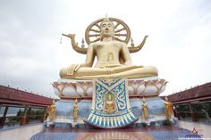 Koh Samui Big Buddha Temple - Religious Places in Thailand. Sitting majestically on a small rocky island just off Samui's north-eastern corner is the Big Buddha golden statue,  built in 1972 and what is probably the island's most well-known landmark and attraction.