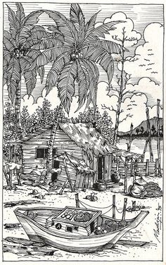 Landscape Coloring Pages For Adults Water Landscapes Coloring