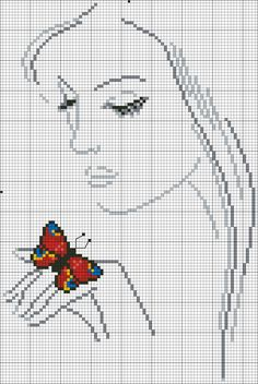 Cross stitch pattern - a lady with a butterfly