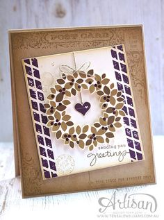By Teneale Williams | Stampin Up! Artisan Blog Hop | Wondrous Wreath. Post Card and Butterfly Basics