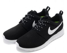 Nike Roshe Run Womens Black White Mesh shoes - Click Image to Close