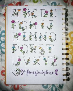 Doodle art 230879918384977095 - Blumen Alphabet mit handlettering Source by heikebaals Bullet Journal Alphabet, Bullet Journal Banner, Bullet Journal Aesthetic, Bullet Journal Notebook, Bullet Journal School, Bullet Journal Ideas Pages, Bullet Journal Inspiration, Art Journal Pages, Bullet Journal Writing Styles