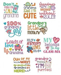 Cute Grandparent Sayings Machine Embroidery Designs by JuJu