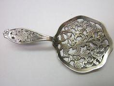 Antique Sterling Silver Tea Strainer Vintage Old Dutch Vintage Ornate Handle