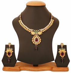 Amazon.com: Touchstone Indian bollywood peacock meenakari white purple jewelry necklace in antique gold tone for women: Clothing