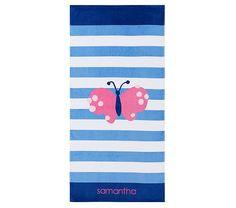 Butterfly Classic Stripe Beach Towel | Pottery Barn Kids