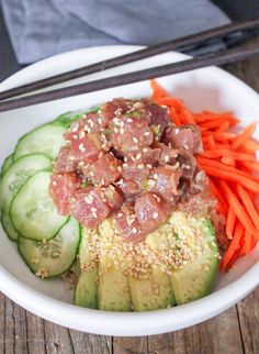 Ahi Tuna Poke Sushi Bowl. Made this on 4-7-14. Beyond delicious and so much food