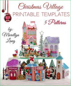 5 Christmas Village house templates to print. DIY with paper, similar to the nostalgic Putz houses
