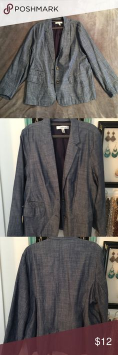 Croft & Barrow Chambray/Denim Blazer Croft & Barrow Chambray/Denim Blazer, size 1X croft & barrow Jackets & Coats Blazers