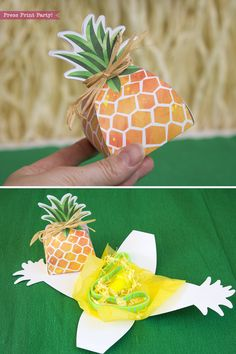 PINEAPPLE PARTY: Pineapple Favor Box printable Luau Party Favor Treat Box Party like a pineapple this summer with this cheery pineapple favor box. Great for a Luau Party and sure to get noticed. No glue assembly. By Press Print Party! Luau Party Favors, Luau Party Supplies, Luau Theme Party, Bachelorette Party Gifts, Luau Invitations, Luau Birthday, Flamingo Party, Tropical Party, Favor Boxes