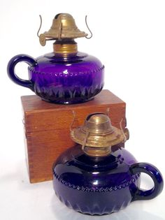 Pair of 1890's Amethyst/Purple Small Oil Lamps Finger Lamps Vintage Lighting
