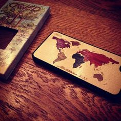 World Map Inlay case with custom engraved Bible verse for Matt Greiner/August Burns Red