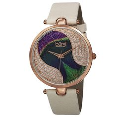 Burgi Women's Swiss Quartz Swarovski Crystals Colorful Dial Leather White Strap Watch