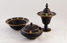 Tiffin Black Satin Glass Bowl, Compote and Covered Dish