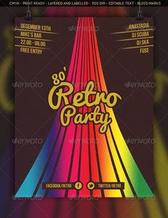 "Retro Event Flyer  #GraphicRiver         A retro event flyer for the groovy disco fans!  	 300 DPI – Print Ready – Bleed Margins – 8.5"" x 11"" – Easily Editable Text – Layered and Labelled – S?ngle Background Layer – Grainy Design  	 Fonts used:  	 Pacifico –  .fontsquirrel /fonts/pacifico Bebas Neue –  .fontsquirrel /fonts/bebas-neue     Created: 18November13 GraphicsFilesIncluded: PhotoshopPSD Layered: Yes MinimumAdobeCSVersion: CS3 PrintDimensions: 8.5x11 Tags: boogie #bright #brown…"