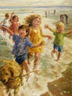"""Summer"" - Illustration/Painting by Corinne Hartley Paintings I Love, Beautiful Paintings, Oil Paintings, Beach Art, Anime Comics, Oeuvre D'art, Love Art, Painting & Drawing, Amazing Art"