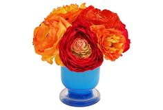 Ranunculus in Blue Vase, Gold on OneKingsLane.com  love this color combination.  If only I had a place to put it...