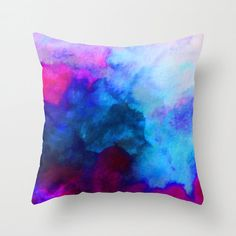 Watercolor Pillow Throw Pillows Watercolor Art by SABartStudio Cute Pillows, Colorful Pillows, Diy Pillows, Beige Couch, Diy For Teens, Teen Diy, Cricut, Decorative Cushions, Fabric Painting