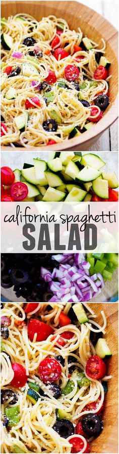 This California Spaghetti Salad is full of delicious summer veggies and topped with zesty italian dressing... it will be the HUGE HIT of any potluck! Spaghetti Pasta Salads, Spagetti Salad Recipes, Summer Spaghetti, Pasta Salad With Chicken, Spaghetti Primavera, Vegetarian Pasta Salad, Spaghetti Squash, Veggie Spaghetti, Healthy Pasta Salad