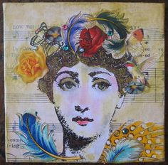 Fornasetti floral feathers (HollyLovesArt) Tags: bird art girl collage mixed ...