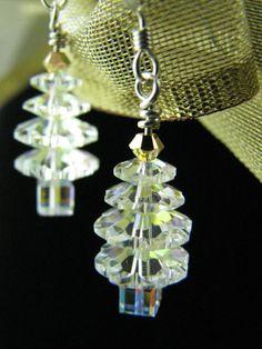 Christmas Earrings - Christmas Jewelry - Christmas Tree - Beaded Earrings. $15.00, via Etsy.