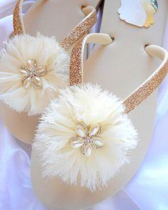 Ivory bridal flip flops Pearl Rhinestone by AdrianaDosSantos, $47.00