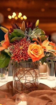 Fall Centerpiece Love the fall floral colours of this centrepiece.aftershocksin The post Fall Centerpiece appeared first on Easy flowers. Fall Wedding Centerpieces, Fall Wedding Flowers, Fall Flowers, Floral Centerpieces, Centerpiece Ideas, Autumn Wedding, Table Centerpieces, Wedding Table, Wedding Colors