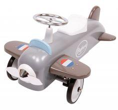 Kinderautos mit Retro Charme! Nostalgisches Rutschauto Flugzeug aus Metall, silber, von Baghera #MomPreneursAdventsbasar