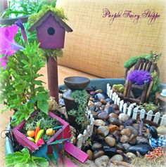Fairy Garden Miniature Birdhouse, Fairy Garden, Miniature Fairy Garden, Fairy Garden Furniture, Fairy Garden Supplies, Miniature Log Chair via Etsy