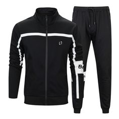 Casual Tracksuit Men Hooded Sets Mens Long Sleeves Printed Stand Up Collar with Zip Track Set Men's Hoodie Sports Slim Sweatshirt Tracksuit Set. Casual Shirts For Men, Men Casual, Casual Wear, Pantalon Long, Jogging, Track Suit Men, Jogger Sweatpants, 2 Piece Outfits, Mens Clothing Styles