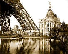 Gas Pavilion and Swedish chalet at right, section of Eiffel Tower at left, Paris Exhibition 1900  Paris Photographs, World Fair Exhibition, 1900. Posters, pictures and photos.