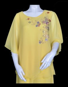 Spring Butterfly Poncho Top in Yellow Eastern Star, Travel Wear, Poncho Tops, Butterfly, Plus Size, Spring, Camisole, How To Wear, Craft Ideas