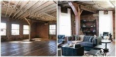A post-industrial loft gets a cozy, masculine look from the designers on American Dream Builders. The loft's theme was all-American masculine, so the designers added a leather chair and stools, a dark blue-gray couch, a black coffee table, and a patterned rug, which were the right mix of masculine, comfort, and warmth. To balance everything out, flowy white curtains added some lightness to the space. See more here.